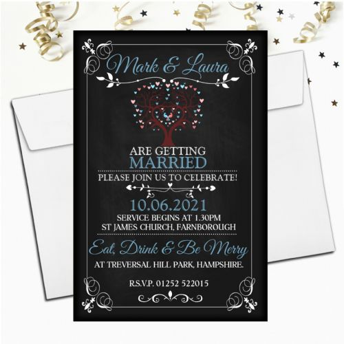 10 Personalised Premium Wedding Invitations Day or Evening N71 Vintage Chalkboard Style